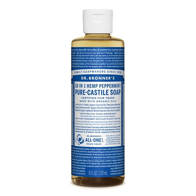 Αγνό υγρό σαπούνι Καστίλλης με μέντα 237ml – Dr. Bronner's