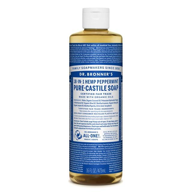 Αγνό υγρό σαπούνι Καστίλλης με μέντα 473ml – Dr. Bronner's