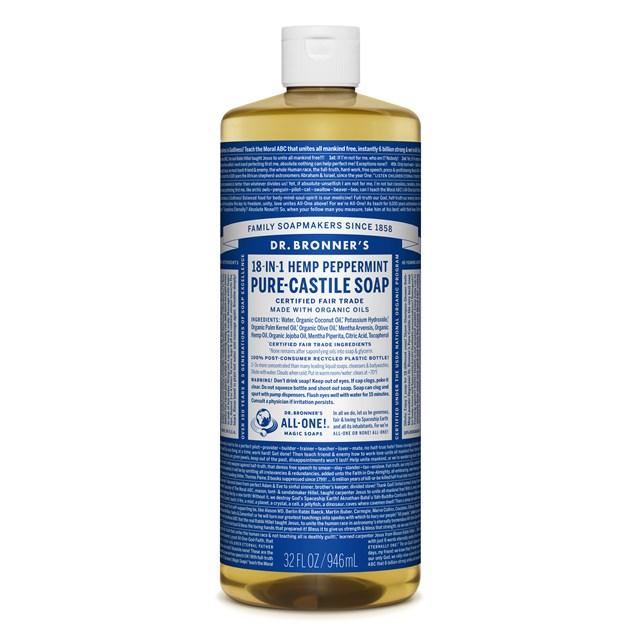 Αγνό υγρό σαπούνι Καστίλλης με μέντα 945ml – Dr. Bronner's