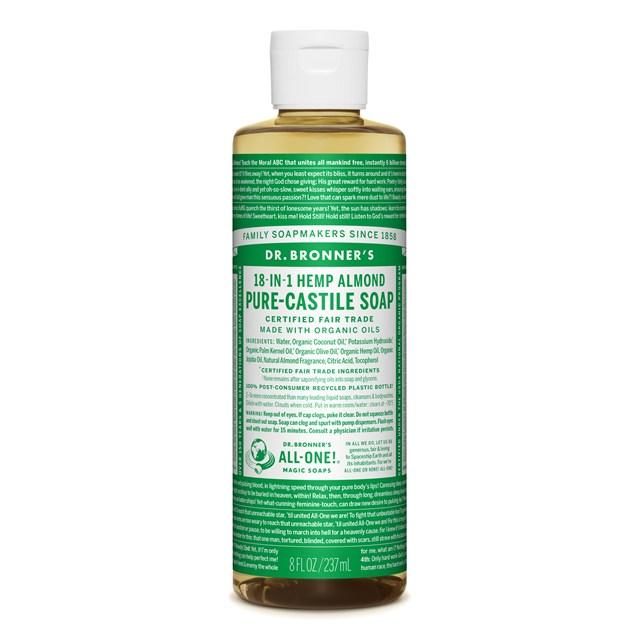 Αγνό υγρό σαπούνι Καστίλλης με αμύγδαλο 237ml – Dr. Bronner's