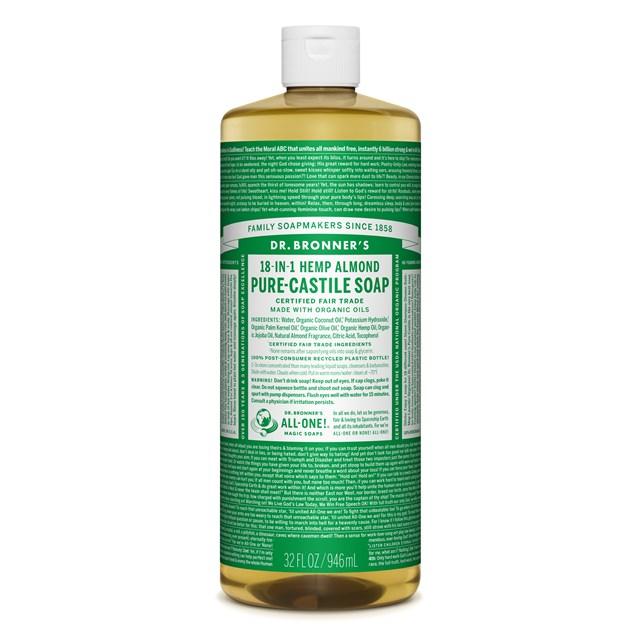 Αγνό υγρό σαπούνι Καστίλλης με αμύγδαλο 945ml – Dr. Bronner's
