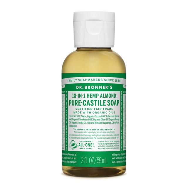 Αγνό υγρό σαπούνι Καστίλλης με αμύγδαλο 59ml – Dr. Bronner's