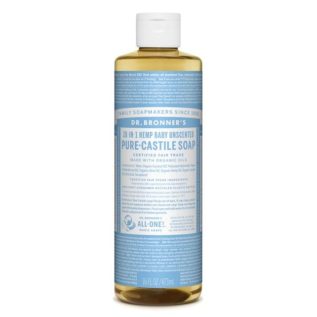 Αγνό υγρό σαπούνι Καστίλλης Baby Unscented – Dr. Bronner's