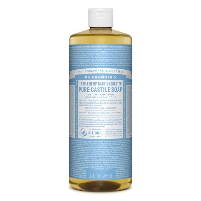 Αγνό υγρό σαπούνι Καστίλλης Baby Unscented 945ml – Dr. Bronner's