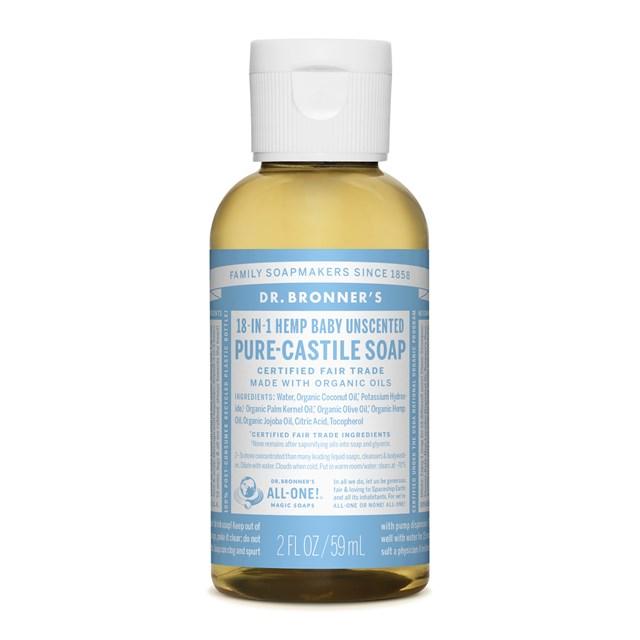 Αγνό υγρό σαπούνι Καστίλλης Baby Unscented 59ml – Dr. Bronner's