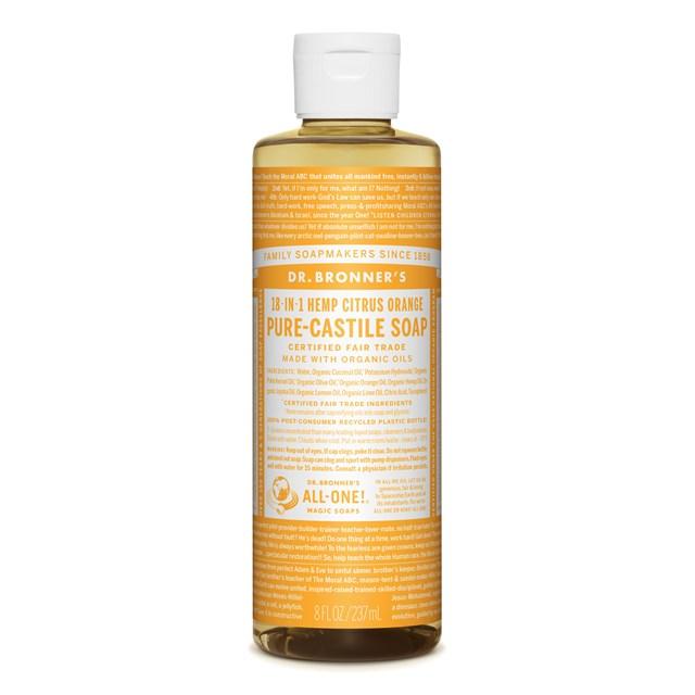 Αγνό υγρό σαπούνι Καστίλλης με Εσπεριδοειδή 237ml – Dr. Bronner's
