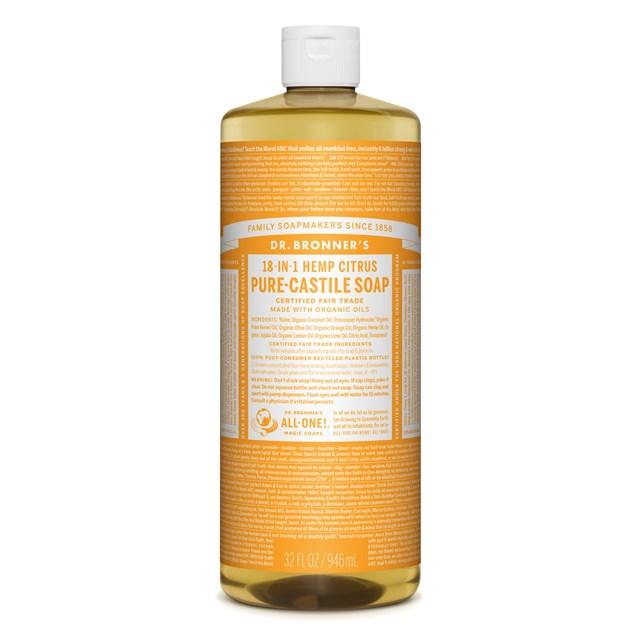 Αγνό υγρό σαπούνι Καστίλλης με Εσπεριδοειδή 945ml – Dr. Bronner's