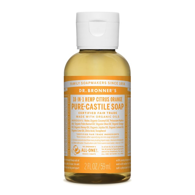 Αγνό υγρό σαπούνι Καστίλλης με Εσπεριδοειδή 59ml – Dr. Bronner's