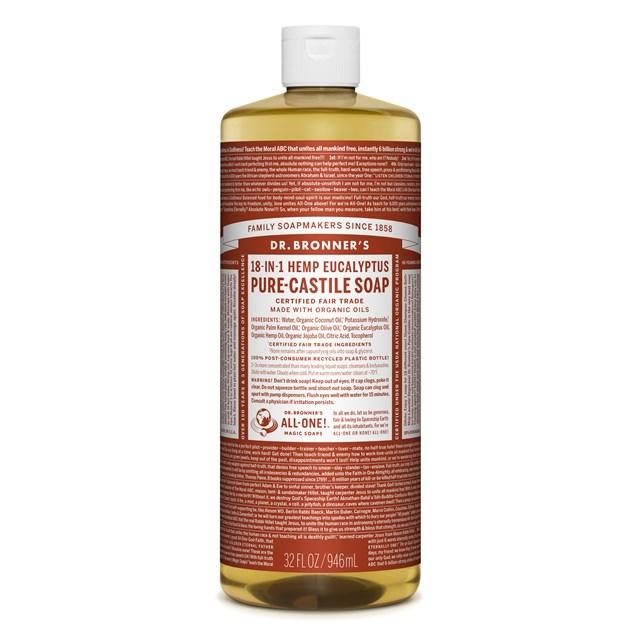 Αγνό υγρό σαπούνι Καστίλλης με ευκάλυπτο 945ml – Dr. Bronner's
