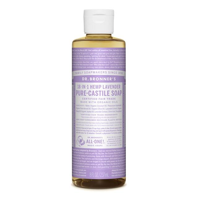 Αγνό υγρό σαπούνι Καστίλλης με λεβάντα 237ml – Dr. Bronner's