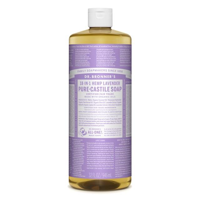 Αγνό υγρό σαπούνι Καστίλλης με λεβάντα 945ml – Dr. Bronner's