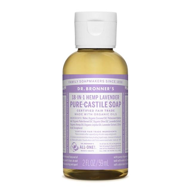 Αγνό υγρό σαπούνι Καστίλλης με λεβάντα 49ml – Dr. Bronner's