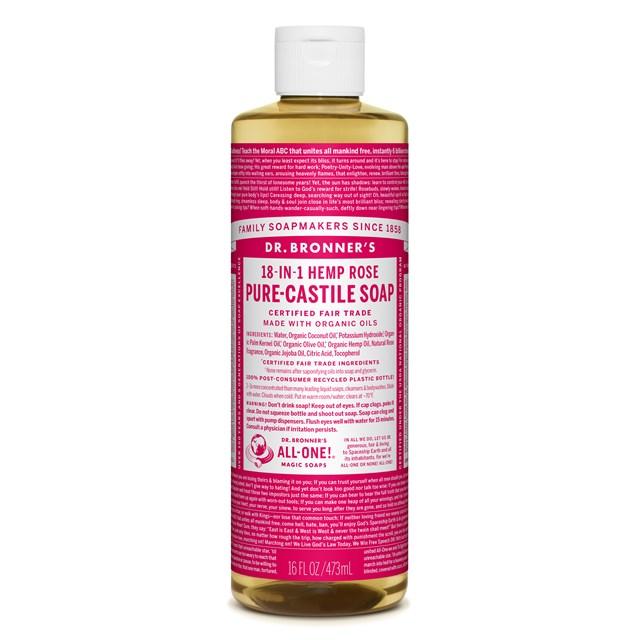 Αγνό υγρό σαπούνι Καστίλλης Rose 473ml – Dr. Bronner's