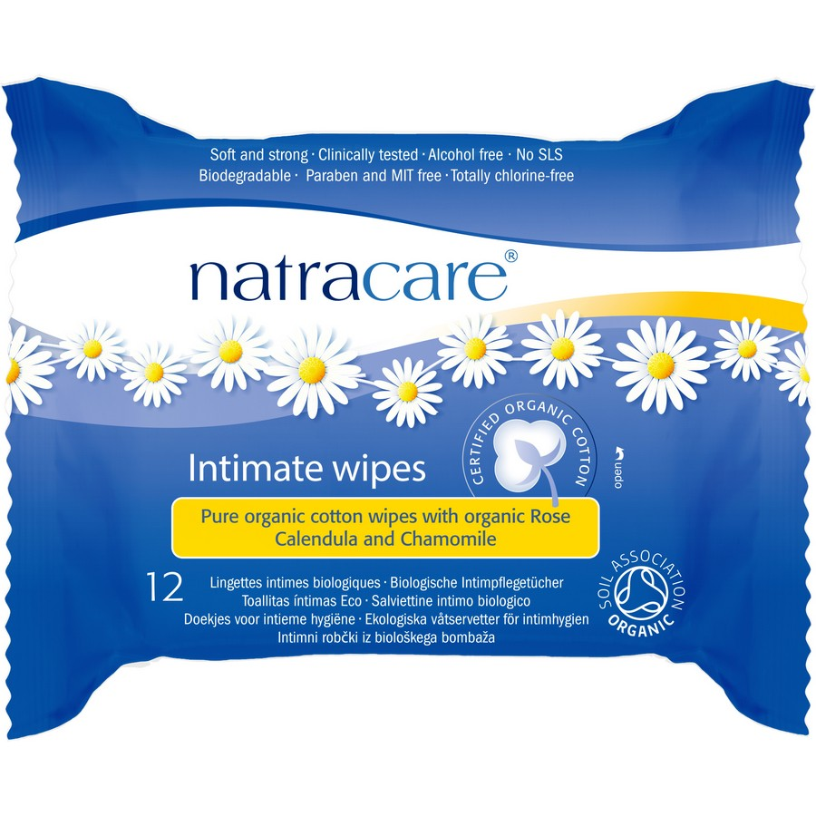 Υγρά μαντηλάκια καθαρισμού για την ευαίσθητη περιοχή 12τμχ- Natracare