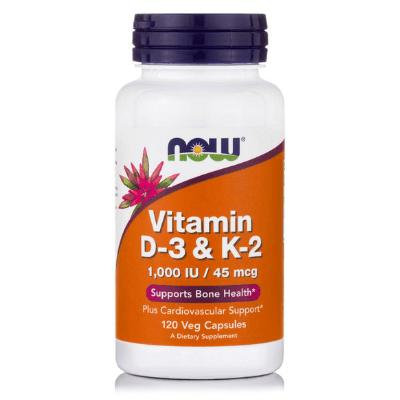 Βιταμίνη D-3 & K-2 για οστά, 120 softgels – NOW