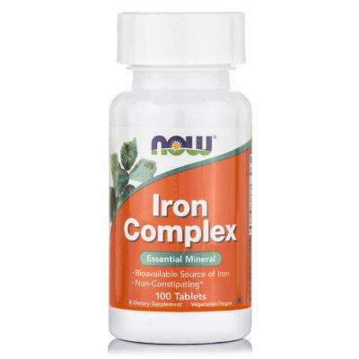 Σύμπλεγμα σιδήρου (σίδηρος, b12, φολικό οξύ) Vegan x100 δισκία – NOW