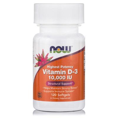 Βιταμίνη D3 10.000 IU για οστά, 120 softgels – NOW