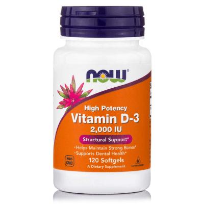 Βιταμίνη D3 2.000 IU για ασβέστιο, 120 softgels – NOW