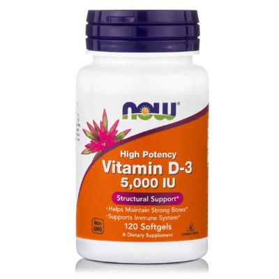 Βιταμίνη D3 5.000 IU για ασβέστιο, 120 softgels – NOW