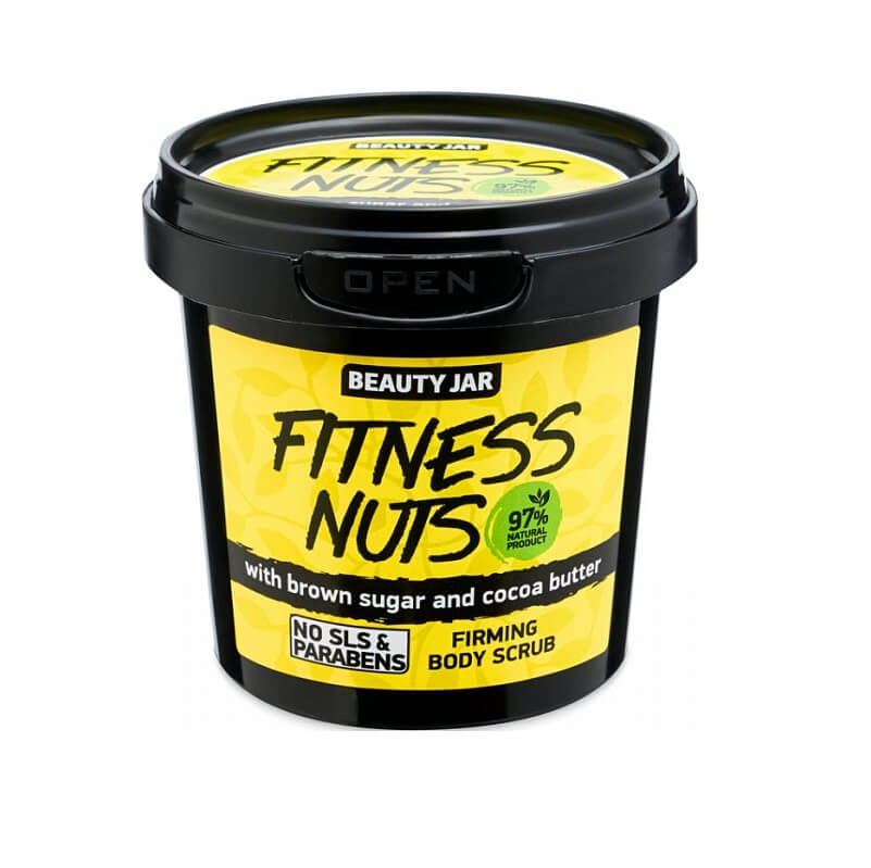 """FITNESS NUTS"" Συσφικτικό scrub σώματος 200gr – Beauty Jar"